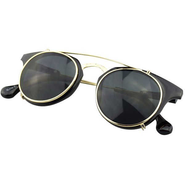 Chicnova Fashion Metal Flip-shell Sunglasses (36 BRL) ❤ liked on Polyvore featuring accessories, eyewear, sunglasses, glasses, shell glasses, flip up sunglasses, seashell glasses, flip up glasses and metal-frame sunglasses