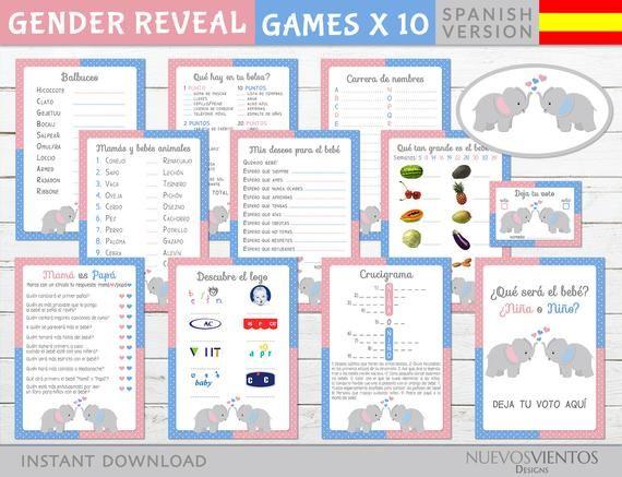 Bilingual Gender Reveal Game Set Printable Elephant Theme Etsy Gender Reveal Games Gender Reveal Gender Reveal Party