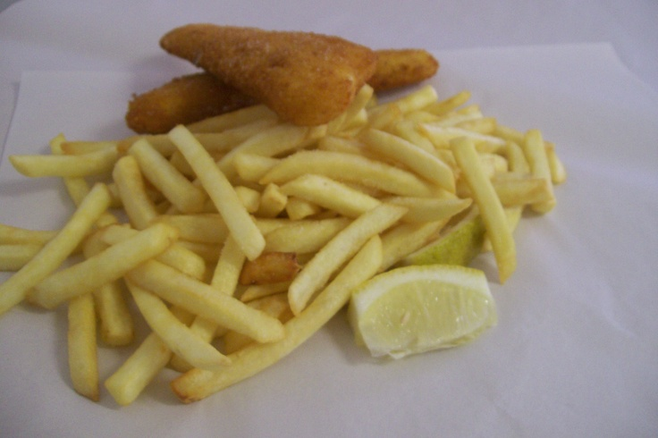 Crumbed fish and chips.