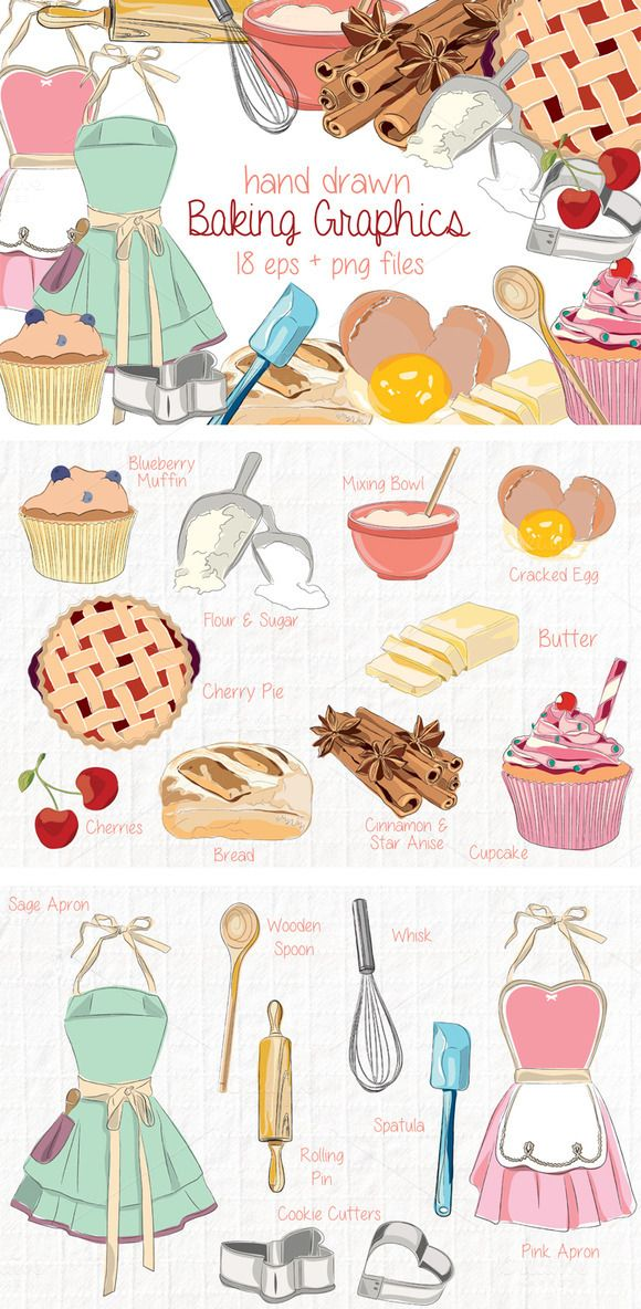 Baking and Kitchen Hand Drawn Vector Clip Art Illustrations Pink apron, Sage green apron, blueberry muffin, cookie cutters, heart shaped cookie cutter, spatula, whisk, rolling pin, wooden spoon, loaf of bread, cracked egg, butter, pink cupcake, cherry on top, cherry pie, cinnamon and star anise spices, mixing bowl, flour and sugar scoops