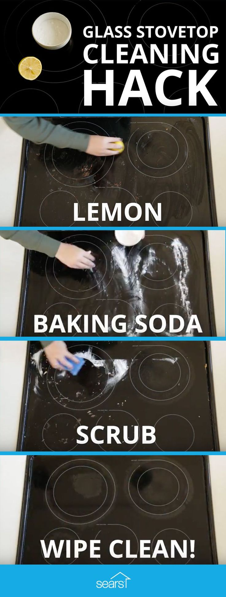 Stovetop Cleaning Hack Tested: clean with lemon and baking soda. This stovetop cleaning hack doesn't even require a cleaner — just lemon juice and baking soda. Baking soda seems to work for pretty much anything, so we're testing it to find out if it makes your stovetop sparkle. Visit the Sears Home Services blog now to watch the video and see if it really works! #homecleaningtips