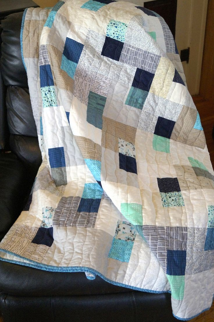 Full Size Quilt or Large Throw Blanket in Modern Fabrics in Shades of Blue, Teal and Turquoise by MyBitOfWonder on Etsy https://www.etsy.com/listing/246708004/full-size-quilt-or-large-throw-blanket