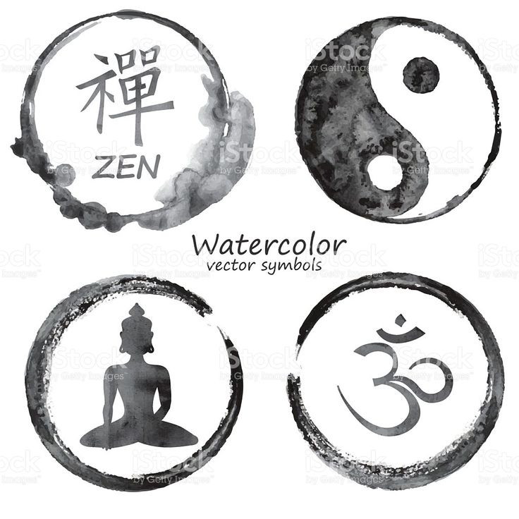 Vector watercolor yoga and buddhism label icons. Om, Zen, …