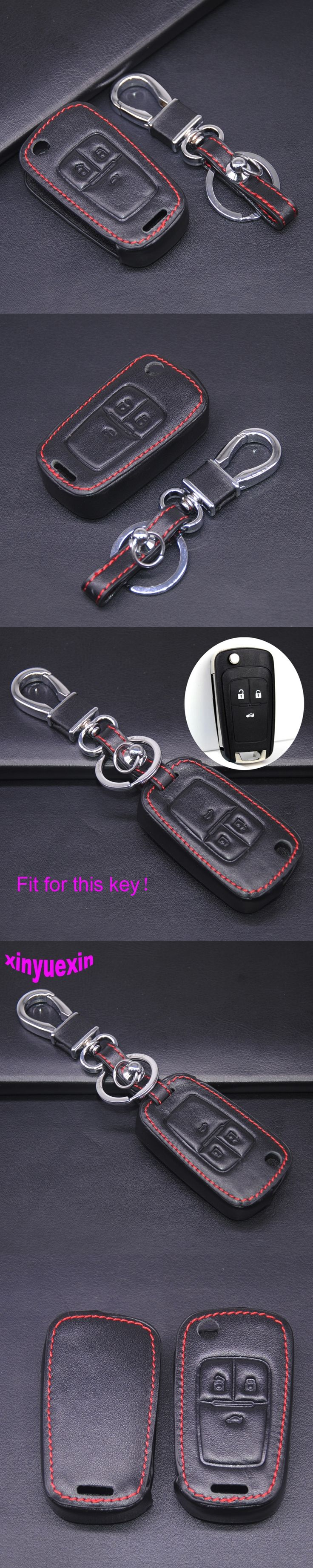 Xinyuexin Leather Car Key Cover Fob Case For Chevrolet Cruze TRAX Aveo Lova Sail EPICA Captiva Malibu Volt With Keychain 3Button