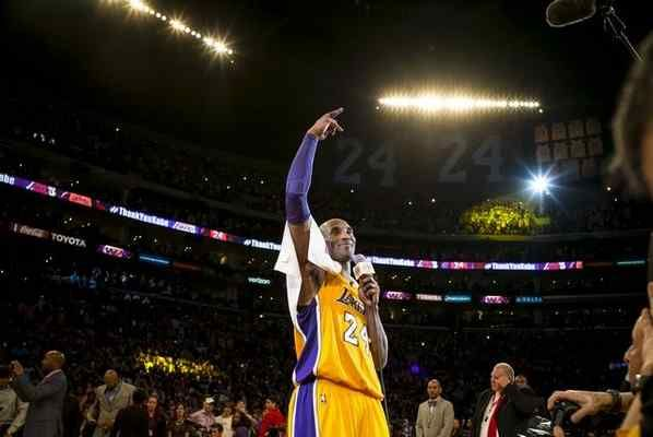 Kobe Bryant waves to fans after scoring 60 points in the final game of his career against the against the Utah Jazz. April 13, 2016. Los Angeles, CA. (Photo by David Crane/Southern California News Group)
