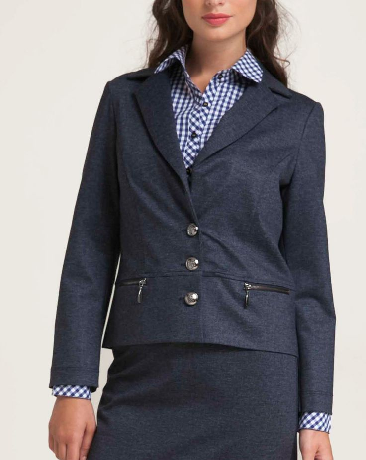 Knitted jacket in faux jean fabric. With a classic cut, it has a three buttons fastening. Two decorative metal zips at front seam. Combine with the faux jean skirt for the perfect office look. http://www.alexanderjacob.com/en/jackets-waistcoat/143-metal-zip-jacket.html