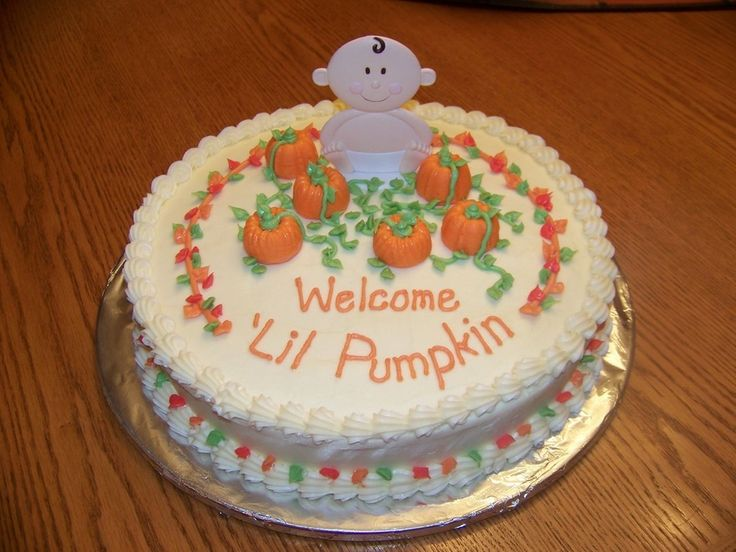 The October baby shower was all done in a fall theme.  Pumpkins are solid chocolate, made in a truffle pan mold.  Spice cake with all cream cheese frosting.  Mom-to-be loved the cake.  It was my first attempt with cream cheese frosting - but I was happy with it.