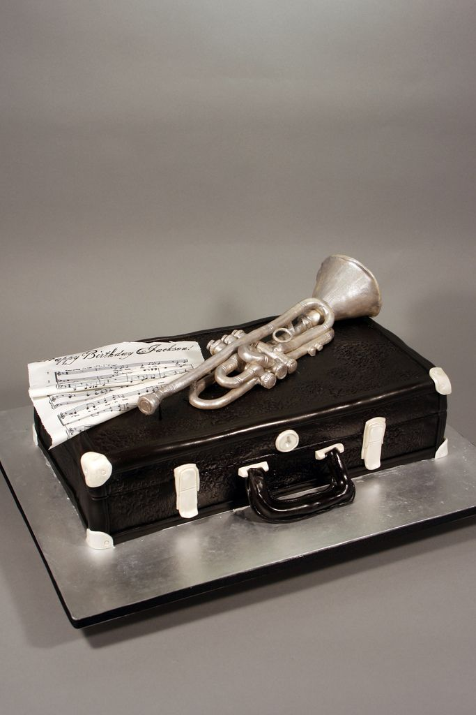 Trumpet & Vintage case birthday cake. | by marksl110