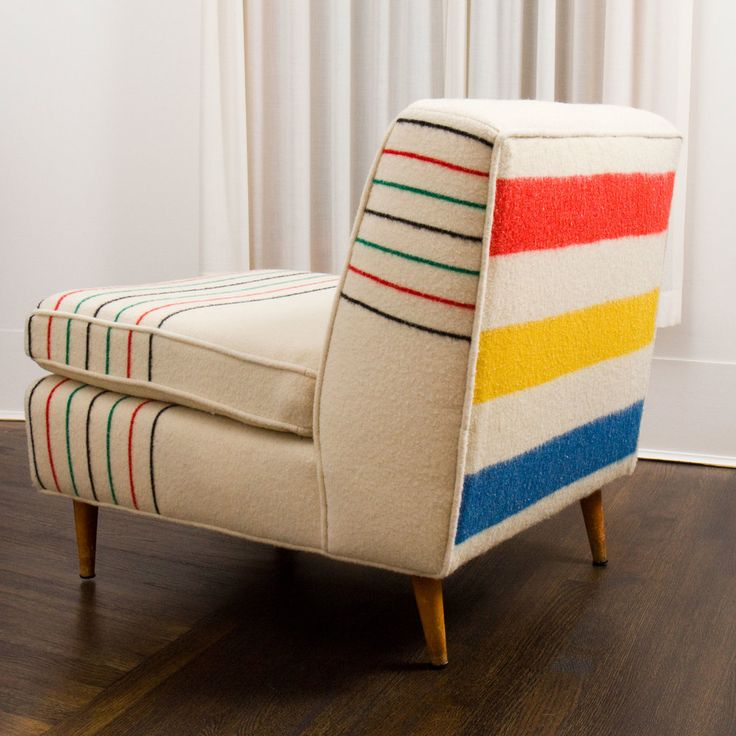 Vintage blankets on vintage chairs Reupholstered antiques by this Seattle-based home shop are twice as nice: The furniture is either antique or made in the U.S. with sustainably-milled wood, then covered with vintage blankets. Their stock is changing all the time (and also includes settees), so click back often.