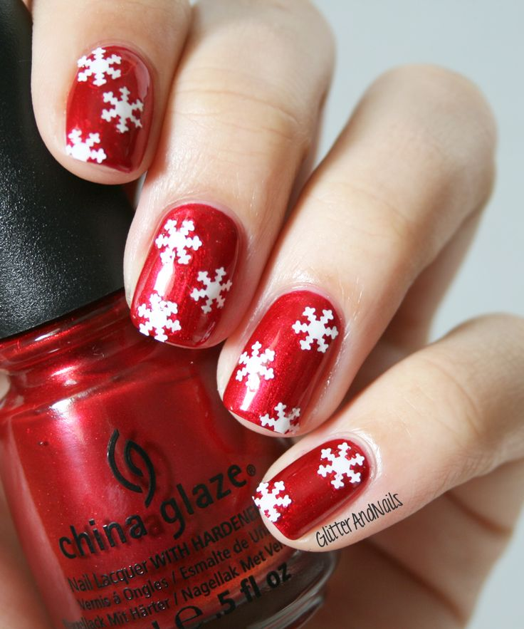 China Glaze Cranberry Splash + snowflake sequins (could use scrapbook punch and white paper or dry nail polish painted on tape)