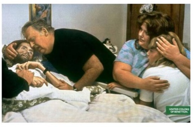 This Benetton advert features a photo of Aids sufferer and activist David Kirby and his family by Therese Frare (1990). The original picture, which won the World Press Photo Award, was published in black and white, but Benetton's advertisers decided they wanted to use a colour version to make it seem more shockingly like a real ad. Frare approved of the photos use. Aids activists who claimed the campaign was in some way a vindication of homosexuality.