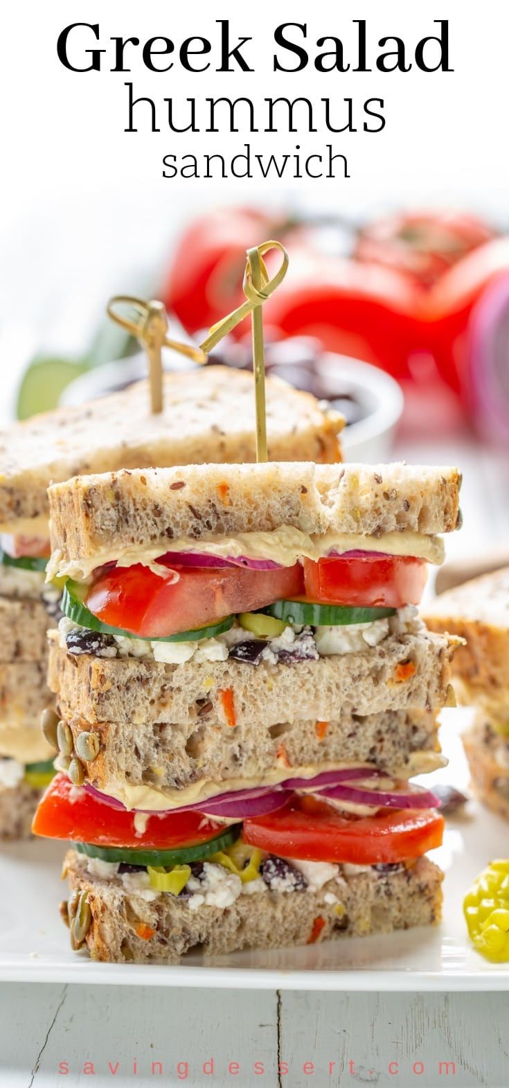 Greek Salad Hummus Sandwich