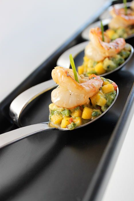Honey Chipotle Shrimp with Mango Avocado Salsa in a Tasting Spoon - perfect appetizer at your next social gathering