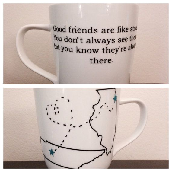 Long distance friendship mug. Long distance mug. State mug on Etsy, $11.00