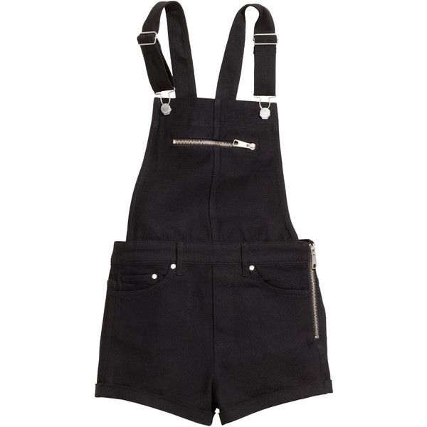 H&M Bib shorts ($9.04) ❤ liked on Polyvore featuring shorts, overalls, bottoms, dresses, black, short overall, bib overall shorts, black shorts, overalls shorts and black short overalls