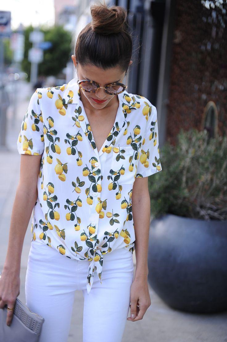 Equipment Keira Tie Front Lemon Print Blouse_white denim_spring style