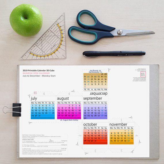 2019 rainbow calendar printable colorful desk calendar 3d rh pinterest com