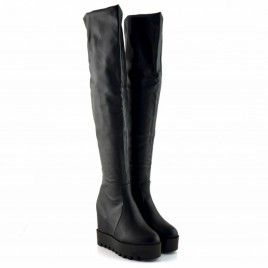 Cizme peste genunchi negre cu platforma Piele ecologica  Inaltime Cizma 64 cm  Inaltime Platforma + Toc 12 cm