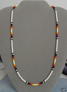 White + Black Beaded Necklace Mens, Womens Native American