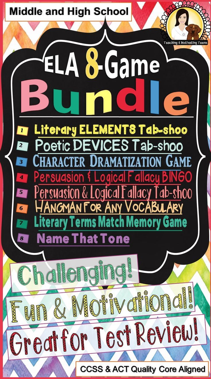 Middle School and High School - 8 great ELA games at one low price! Your students will love studying with these games!  Contains: Literary Elements Tab-shoo (plot, character, setting, etc.), Literary Terms Match Game, Argument & Persuasion Bingo (+ logical fallacies), Persuasion and Logical Fallacies Tab-shoo, Name That Tone (author's tone), Hangman for any Vocabulary, and Poetic/Literary Devices Tab-shoo (hyperbole, personification, etc.). Reinforce learning. Excellent for test review!