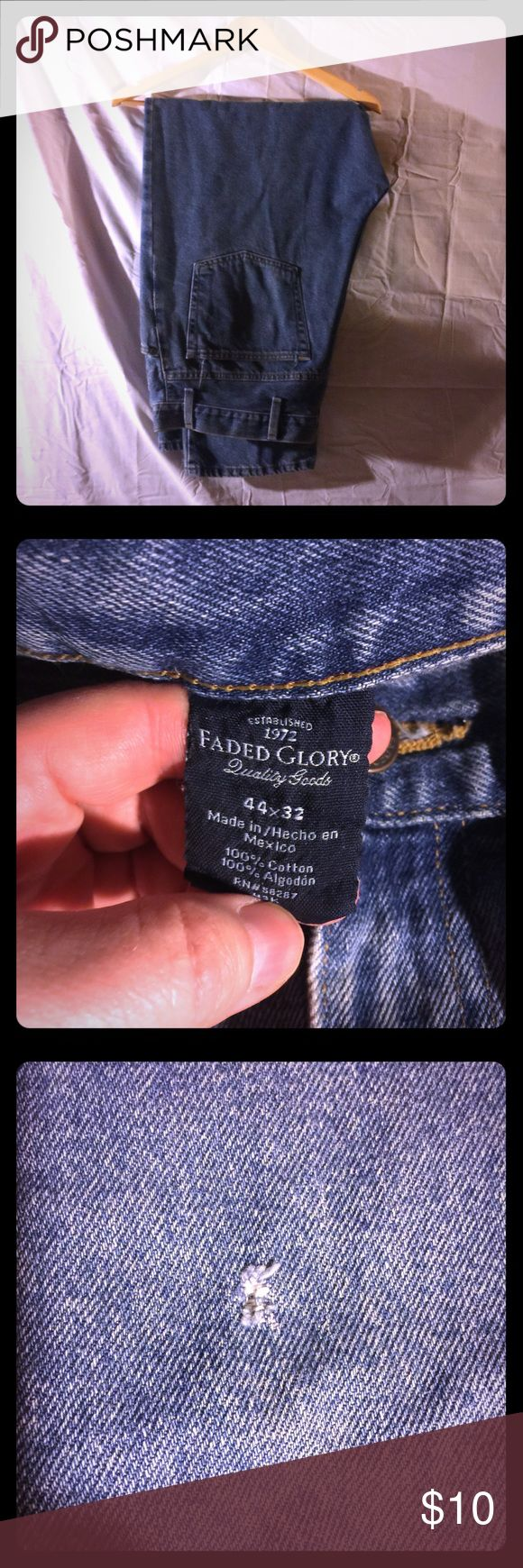 Men's Faded Glory Jeans 44x32 Men's Jeans by Faded Glory size 44x32. Good used condition. One very small tear on left slightly above knee. See photo #3 No other rips or stains. No trades. Reasonable offers welcome. Faded Glory Jeans Relaxed