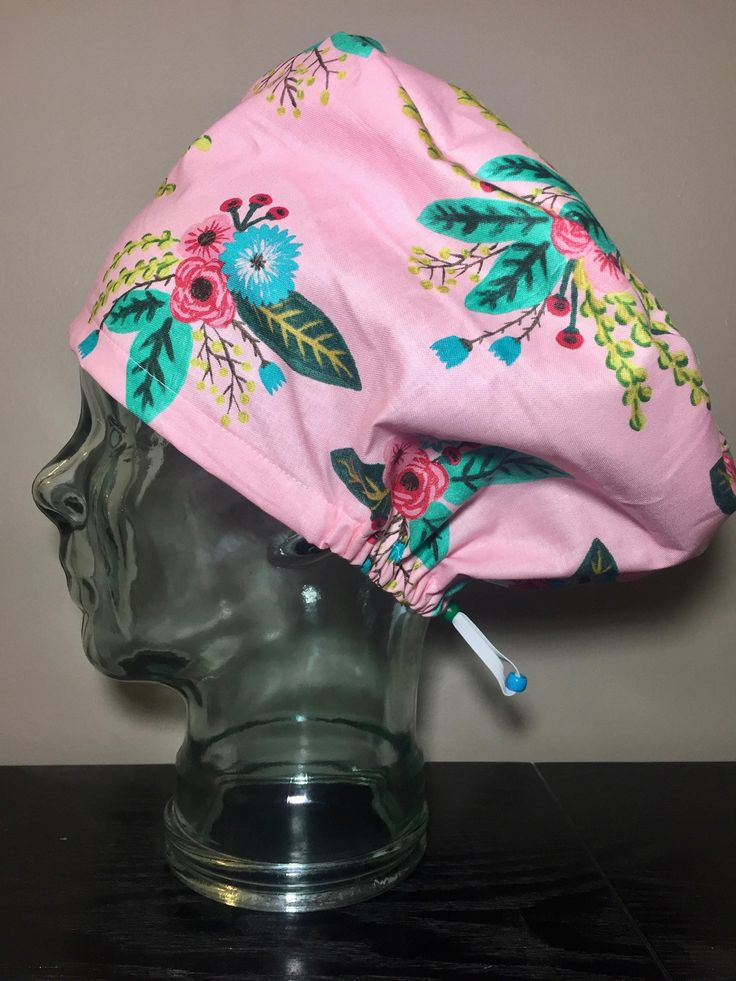 Blue, Teal & Pink Florals Surgical Scrub Hats, Women's European Style Flower Scrub Caps, Modified Bouffant, Custom Caps Company by CustomCapsCompany on Etsy