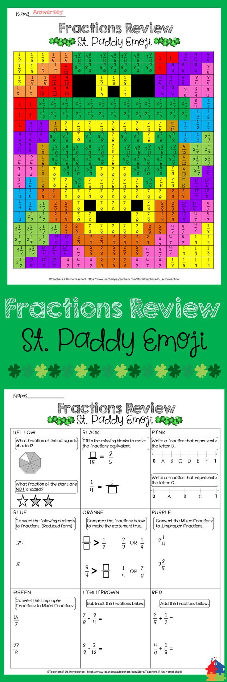 St. Patricku0026#39;s Day Emoji [Math Fraction Review]