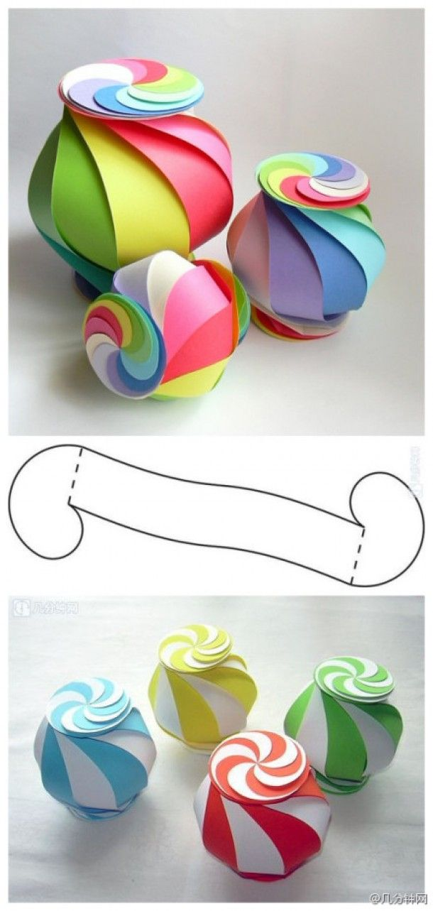 fun paper crafted folded boxes!! I love the swirly candy shaped ones. I wish I could think of something to put inside them...