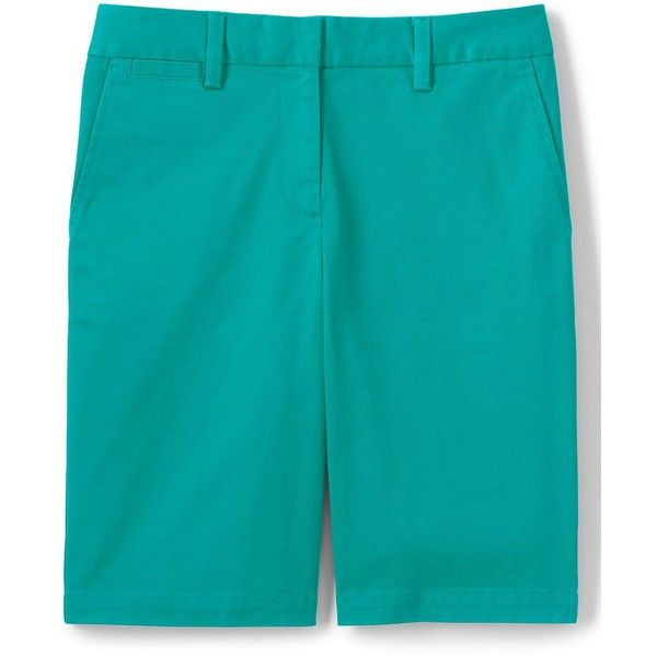 Lands' End Women's Petite Mid Rise 10 Chino Shorts ($39) ❤ liked on Polyvore featuring shorts, green, summer shorts, green shorts, petite shorts, flat-front shorts and lands end shorts