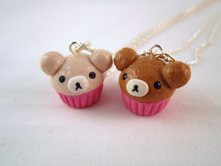 Best Friends Rilakkuma San X Bear Polymer Clay Charm Silver BFF Necklace Set. $18.00, via Etsy.