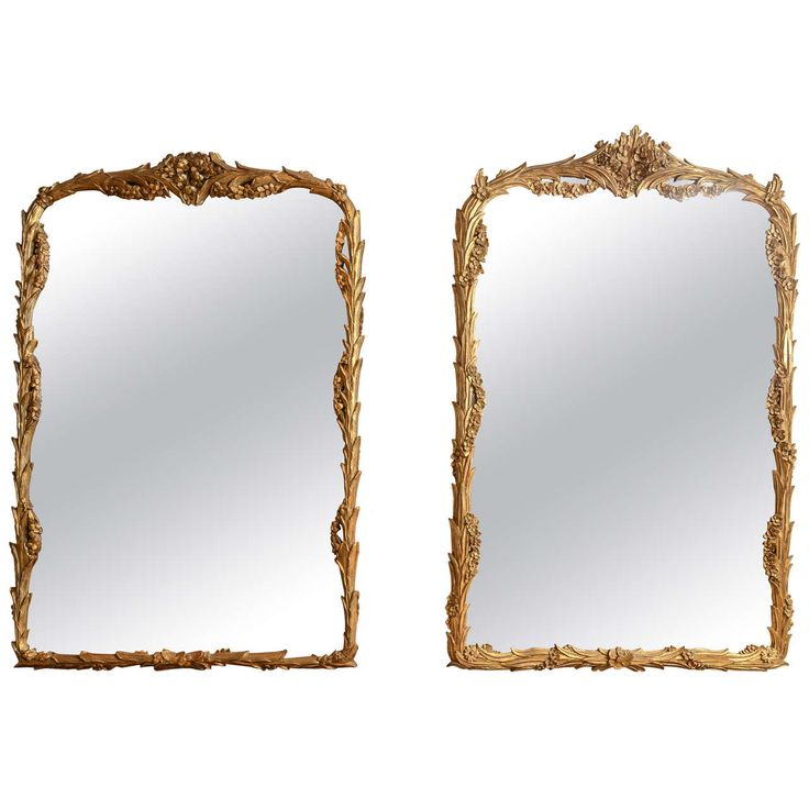 Unmatched Pair of Foliate Giltwood Mirrors   See more antique and modern Wall Mirrors at http://www.1stdibs.com/furniture/mirrors/wall-mirrors