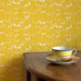 Fresh yellow and white Saplings leaf stem design wallpaper, by Miss Print