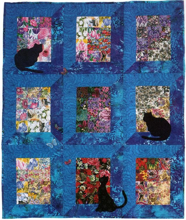 Watercolor Quilt Pattern With Cats And Butterflies Cafca Info For