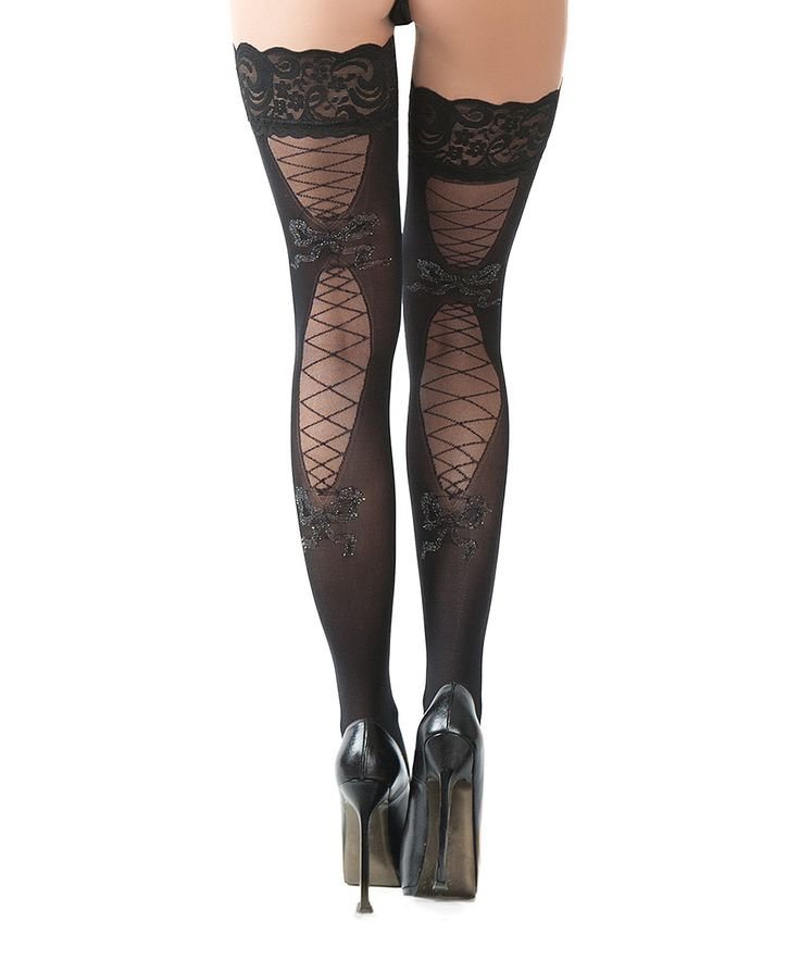 Black Corset Bow Thigh-High Stockings