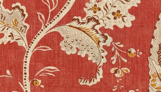 Coramille Linen Fabric Toile de Nantes print in red, gold and tan printed on cream linen