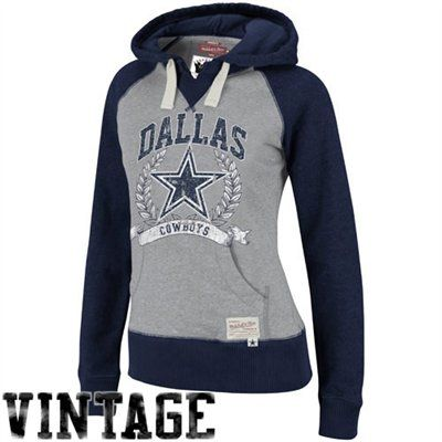 Mitchell & Ness Dallas Cowboys Ladies Ash-Navy Blue Postseason Pullover Hoodie Sweatshirt