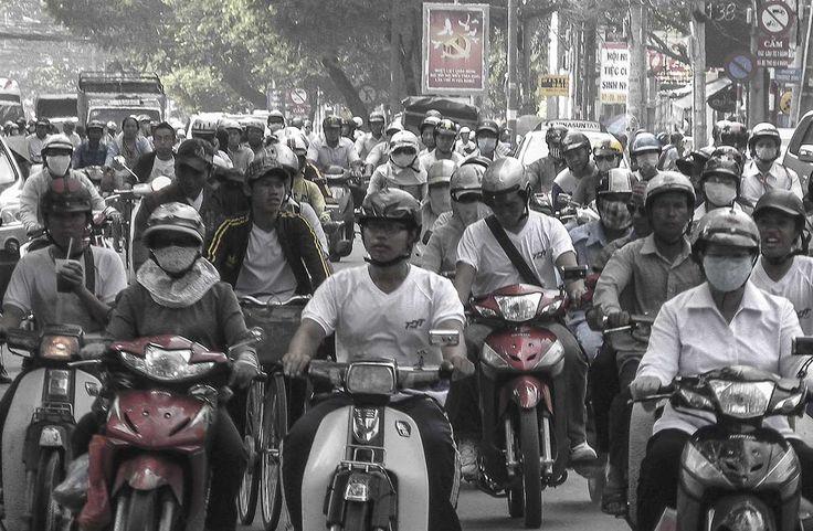 Heavy traffic that goes on 24/7.  Ho Chi Min City, Vietnam.