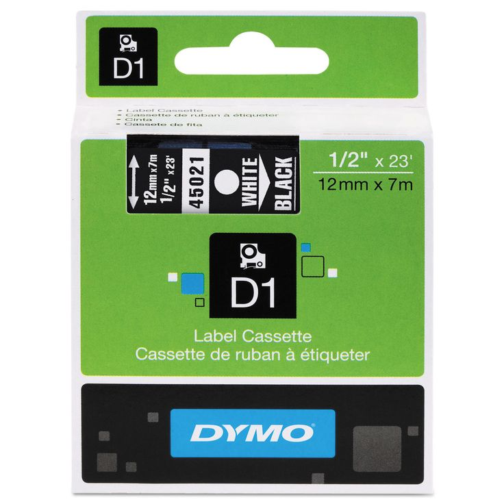 Dymo D1 High-Performance Removable Label Tape 1/2-inch x 23 ft White on