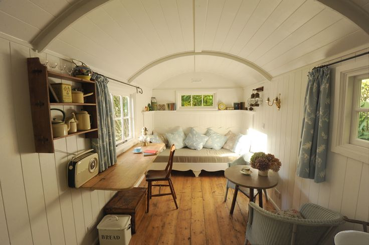 """Shepherd Hut. These are less """"romantic"""" but I think I like the style of the shepherd's hut better, more useful camping space!"""