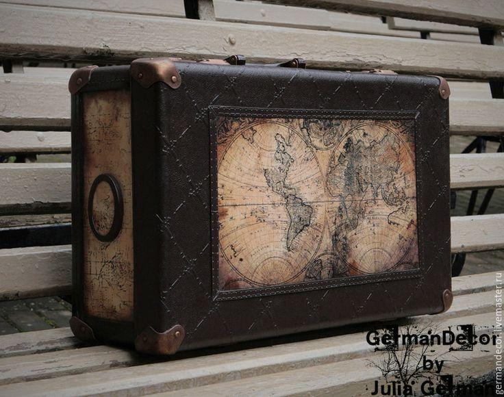 """Купить Чемодан """"Далекий 54-й год"""" (продан) - коричневый, чемодан, чемоданчик, чемодан декупаж"""