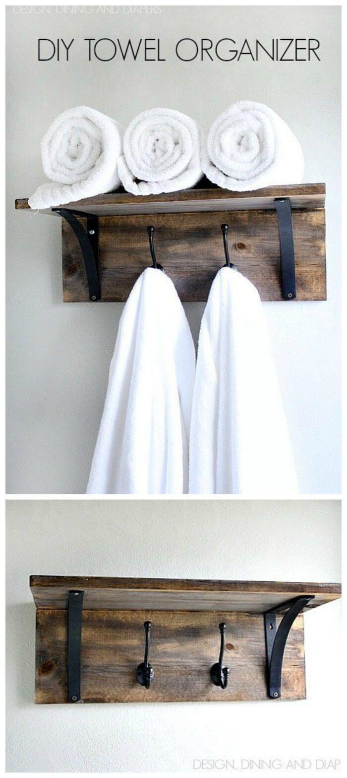 42 Super Creative Diy Bathroom Storage Projects To Organize Your Bathroom On A Budget Towel Organization Rustic Towel Rack Diy Towel Rack