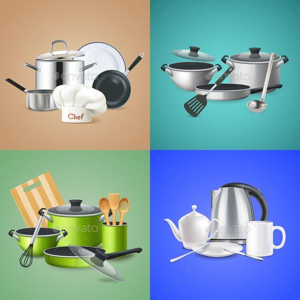 Realistic Kitchen Tools Design Concept Realistic Kitchen Tools Design Concept Cookware Of Chef Green Cu Kitchen Tools Design Kitchen Tools Ceramic Cookware Set
