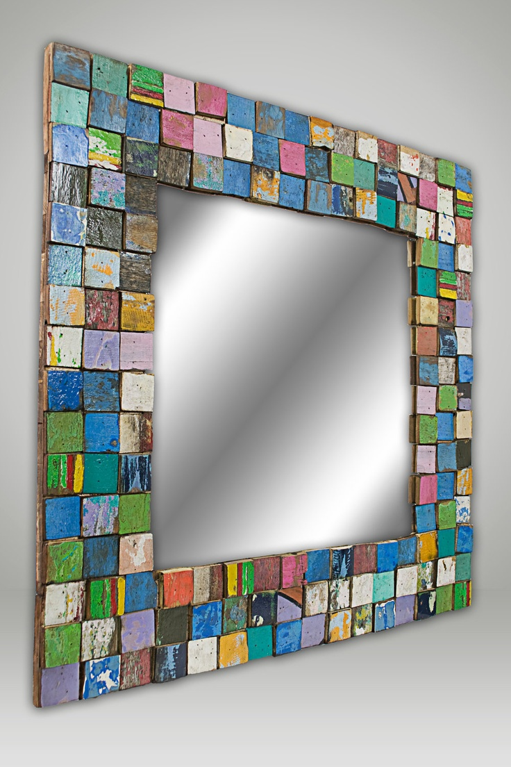 Mosaic mirror--love it!  What about painted wooden tiles with triple thick?