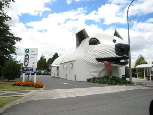 These two delightful animal-shaped buildings host a visitor center and wool shop.