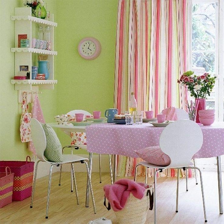 яркие, но нежные карамельные #цвета аппетитно смотрятся в столовой #color #fabric #decoration #цвет #полоска #Candy