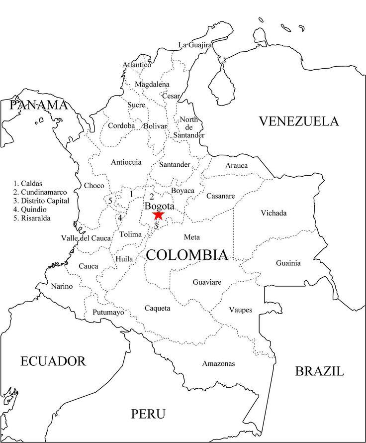 Mapa de colombia, donde la violenca comenzo, en Bogota, Colombia.