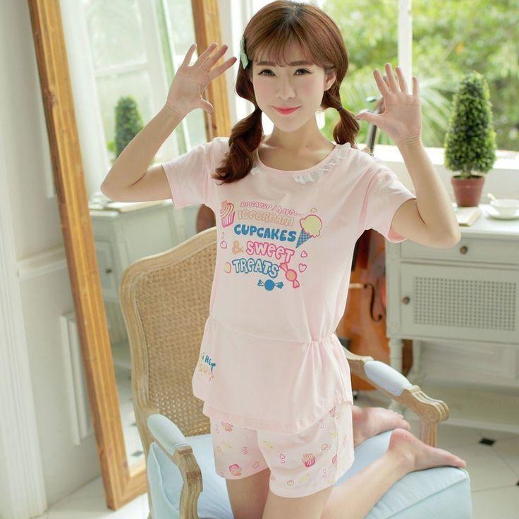 Pajama Sets For Women Cotton Letter Print Short Sleeve Pajamas Pijama Cute Girls Shorts Sleepwear Pyjama Summer Two Piece Set #Affiliate