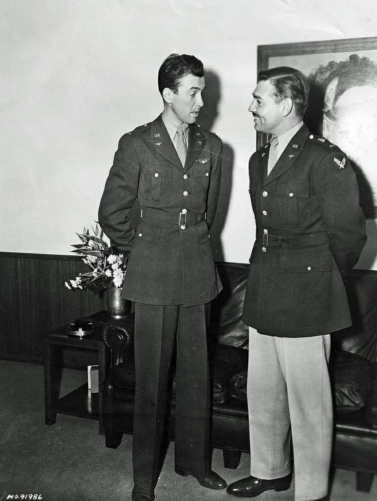James Stewart and Clark Gable, captains in the U.S. Army Air Corps during World War II.