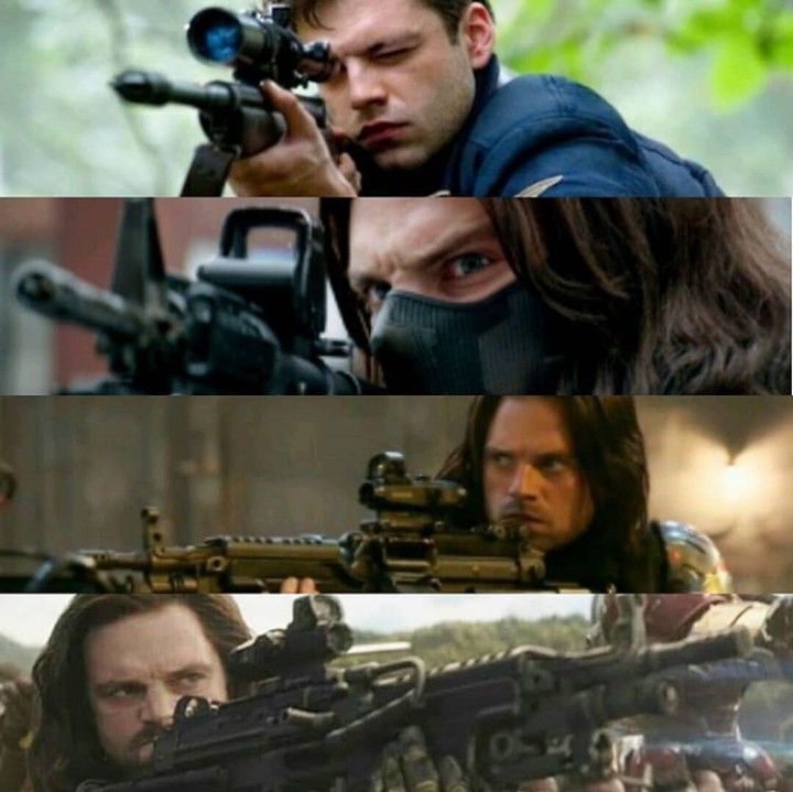 Bucky with his guns winter soldier bucky avengers