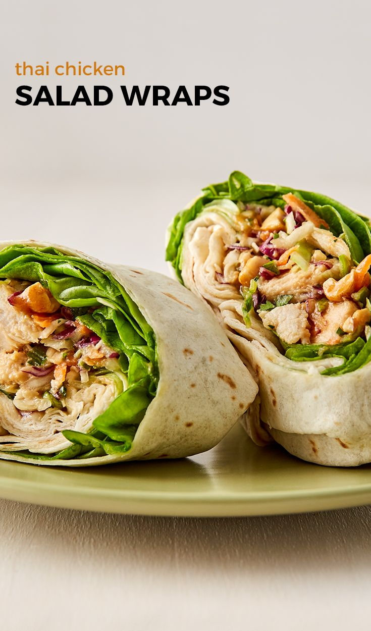 Chicken salad infused with Thai flavors all rolled up in a wrap. Prepped in 15 minutes, these are a quick and easy lunch that will wow your taste buds! Goodbye, boring, sad desk lunch!